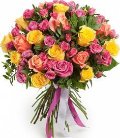 Букет из Розы Палитра, цены от Flor2u.ru Beautiful Bouquet Of Flowers, Beautiful Roses, Fresh Flowers, Beautiful Flowers, Montreal Botanical Garden, Cemetery Flowers, Luxury Flowers, Mothers Day Flowers, Flowers Delivered