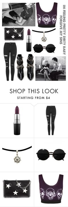 """My Heroine"" by wellexcuseyou ❤ liked on Polyvore featuring MAC Cosmetics, Topshop, Versace, STELLA McCARTNEY, WearAll, Yves Saint Laurent, Punk, rockmusic, song and themaine"