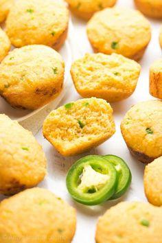 Healthy Jalapeño Cheddar Cornbread Mini Muffins