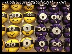 Yellow and purple minion cupcakes by www.wickedcakegirls.com