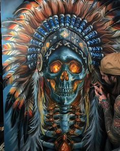 Skull Chief - Best Airbrush Art Images, Videos and Galleries: share, rate thousand of Pictures and discover the latest uploads! Native American Tattoos, Native Tattoos, Native American Paintings, American Indian Art, Native American Art, Tattoo Indio, Indian Skull Tattoos, Indian Tattoo Design, Western Saloon