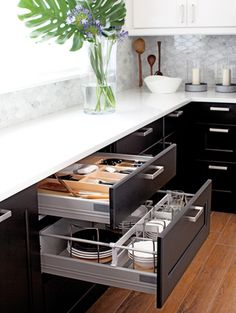 Kitchen, white counters, drawer storage
