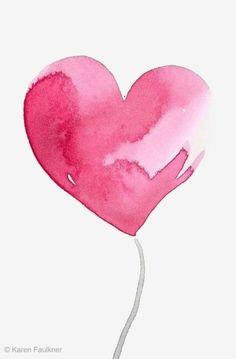 Art print of pink watercolor heart Hello Love