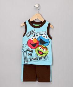 Look at this #zulilyfind! Blue & Chocolate 'Best Friends' Tank & Shorts - Infant & Toddler #zulilyfinds