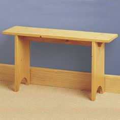 """Shaker Bench DIY Woodcraft Pattern #625 - Classic shaker simplicity at its best; easy to make from just four boards. Use as a hall bench, under a mirror or next to a coat rack for changing boots and shoes. 18""""H x 9""""W x 32""""L. Pattern by Sherwood Creations #woodworking #woodcrafts #pattern #craft #furniture #bench"""