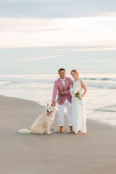 Sunrise Beach wedding portraits with dog IG: 📸 Wedding Portraits, Wedding Pictures, Sunrise, Wedding Photography, Wedding Dresses, Beach, Dogs, Wedding Shot, Bridal Dresses