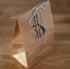 Stamped kraft paper bags