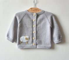 Light grey baby swetaer with little lamb merino baby jacket with sheep MADE TO ORDER - Patron couture bébé - Fox Sweater, Knitted Baby Cardigan, Knit Baby Sweaters, Girls Sweaters, Baby Set, Baby Baby, Knitting For Kids, Baby Knitting, Merino Pullover