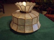 Attractive Vintage Capiz Shell Table Lamp Shade, 7 Shell Lamp, Table Lamp Shades, Shells, Lighting, Ebay, Vintage, Conch Shells, Light Fixtures, Clams
