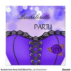 0ec5587dcc4 Bachelorette Party Gold Black Purple Corset Card Corset Invitations
