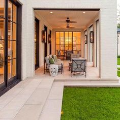 Covered Patio with White Brick Columns