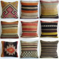 poppytalk: On the Radar: Antique Turkish Kilim Pillows Rattan furniture is a favorite of ours! So is this find by marisapascu via home. Kilim Pillows, Throw Pillows, Accent Pillows, Big Pillows, Aztec Pillows, Colorful Pillows, Home Decoracion, Farmhouse Side Table, Organic Modern