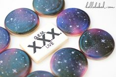 Hand Painted Stars on Airbrushed Galaxy Cookies