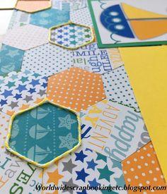 Worldwide Scrapbooking Etc.: Doodlebug Design Anchor's Aweigh Layout! Twine embellishment on hexagon pattern!