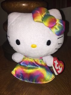 "TY Beanie Babies HK HELLO KITTY RAINBOW DRESS Beanie Baby 6"" Plush Toy #Ty"