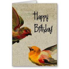 Vintage Birds Birthday Cards