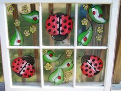 Ladybug Galore 6 pane window..Now you know I gotta paint this somewhere!!!
