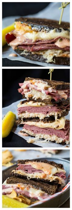 Spicy Reuben Sandwiches: Serves: 4 Ingredients 8 slices dark rye bread or pumpernickel 1 can sauerkraut, drained well 1 pound sliced corned beef 12 slices swiss chee. Best Reuben Sandwich, Soup And Sandwich, Pastrami Sandwich, Paninis, Tacos, Wrap Sandwiches, Gourmet Sandwiches, Antipasto, Love Food