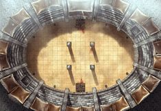 Battle Arena, a printable battle map for Dungeons and Dragons / D&D, Pathfinder and other tabletop RPGs. Tags: arena, gladiator, duel, mercenaries, Colosseum, fantasy, armies, blood, sand, city, combat, print,