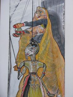 Chris F: Indian puppets. (watercolour and ink)