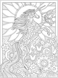 Dover Coloring Pages, Unicorn Coloring Pages, Cute Coloring Pages, Adult Coloring Pages, Free Coloring, Coloring Books, Dover Publications, Christmas Wallpaper, Mythical Creatures