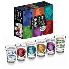 And some shot glasses covered with quotes from Oscar Wilde and Dorothy Parker.