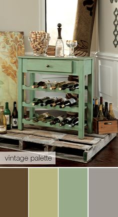 Vintage palette - Cheers! In love with this little wine rack accent table! -by Ashley Furniture-