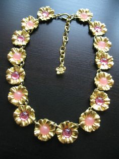 Vintage Givenchy Pink Poured Glass Flower Necklace