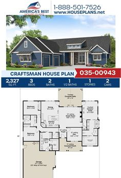 Fall in love with Plan 035-00943, a Craftsman design featuring 2,327 sq. ft., 3 bedrooms, 2.5 bathrooms, a vaulted covered porch, a kitchen island, and an open floor plan. Learn more about this Craftsman design on our page! #houseplans #craftsmanhomes