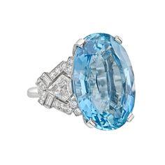 Raymond C. Yard Oval-Cut Aquamarine & Diamond Ring - Photo c/o Betteridge Aquamarine ring in platinum with diamond side stones Aquamarine Jewelry, Diamond Jewelry, Royal Jewels, High Jewelry, Diamond Cuts, Oval Diamond, Birthstones, Vintage Jewelry, Jewelry Making