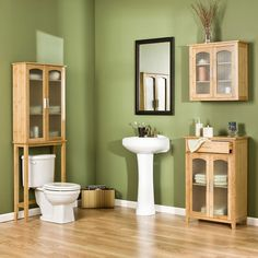Bamboo bathroom - like the green walls but would it look as good with tiled floors?