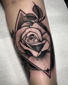 Blackwork Rose Floral Tattoo by David Mushaney