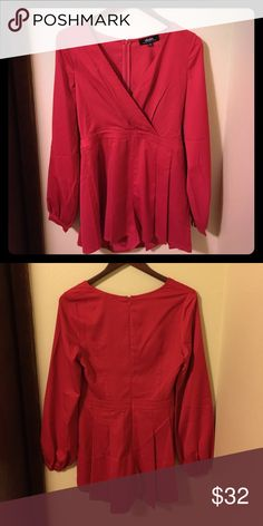 Sexy red long sleeve romper NEver worn! So cute!!! Lulu's Other