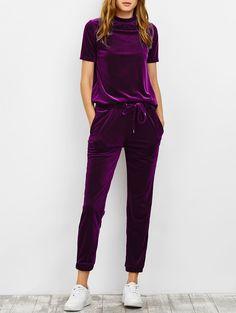 $31.99 Velvet High Collar Tee And Jogging Pants PURPLISH RED: Gym Sets | ZAFUL