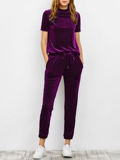 $31.99 Velvet High Collar Tee And Jogging Pants PURPLISH RED: Gym Sets | ZAFUL