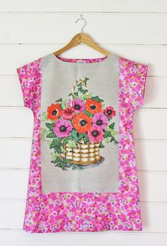 2c1f7964d2 Upcycled Linen Tea Towel Tunic Women Dress Pink Purple Red Daisy Poppies  Retro Floral Mod Mini Australia Floral Small