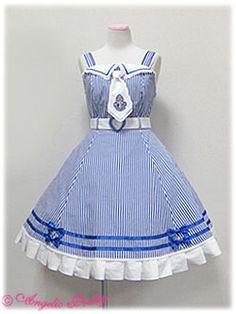 angelic pretty マリンストーリーストライプジャンパースカート