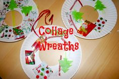 Collage Wreaths.  Great way to use all those wrapping paper and ribbon scraps!  Pin this site.  25 Winter Activities for Kids in 25 Days!