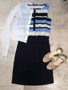 """Max Mara Sportmax code cotton and silk creamy white cardigan (also available in a longer length navy colour)   Sportmax code viscose and elastane navy and white stripe dress   MaxMara """"Ebano"""" nude patent leather wedge heel sandals with ankle straps.  Prices on request."""