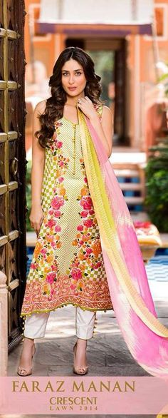 Sweet-heart Neck Printed Dress Summer Lawn Collection 2014 Faraz Manan