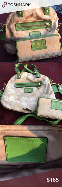 Authentic Coach bag w/ matching wallet Lime green leather trim And cream Coach bag with matching wallet, delicately used. Coach Bags Shoulder Bags