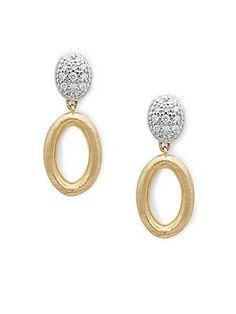 Marco Bicego Siviglia Diamond & 18K Yellow Gold Oval Link Earrings - G