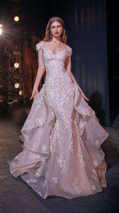"Galia Lahav Couture Spring 2020 Wedding Dresses ""Make A Scene"" Bridal Collection // cap sleeves illusion bateau sweetheart neckline full embellishment princess romantic mermaid wedding dress chapel train (martha) overskirt mv Western Wedding Dresses, Bridal Dresses, Wedding Gowns, Couture Dresses Gowns, Wedding Bride, Dresses Art, Princess Wedding, Perfect Wedding Dress, Bridal Collection"