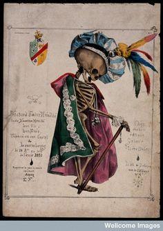A skeleton in fine attire. Lithograph, 18--. (PUBLIC DOMAIN)