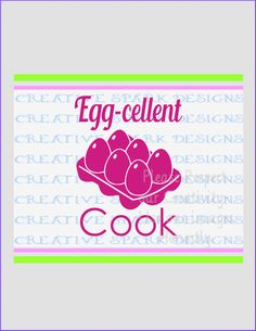 Eggcellent Cook-- Kitsch-en Collection SVG image for Die Cutting machines or clip art by CreativeSparkDesigns on Etsy