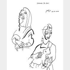Da Vinci's 'Mona Lisa' & 'Lady with an Ermine'  Blind-contour drawing    Graphics pen + Brush pen    #davinci #renaissance #monalisa #ladywithanermine #blindcontour #drawing #penonpaper #artprint #art #illustration #boahndesign #다빈치 #르네상스 #모나리자 #흰족제비를안은여인 #일러스트 #펜그림 #블라인드컨투어드로잉