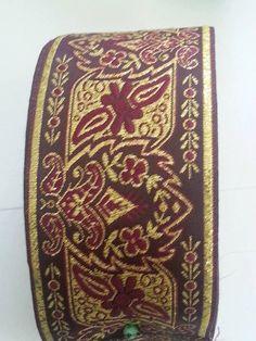 2 inch Wide Burgundy Gold Floral Explosion Jacquard Ribbon Trim SCA LARP, Medieval, Renaissance, Fantasy