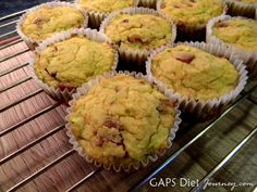 Bacon Muffins Gluten-Free Dairy-Free Made with Coconut Flour via Evans Evans Stewart (GAPS Diet Journey) Bacon Muffins, Gluten Free Muffins, Gluten Free Snacks, Free Breakfast, Paleo Breakfast, Breakfast Recipes, Low Carb Recipes, Real Food Recipes, Free Recipes
