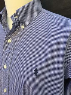 #Polo #RalphLauren #Mens #Shirt #XL #ClassicFit #Blue #White #Gingham #Check #Cotton #eBay #Triedandtestedmenswear