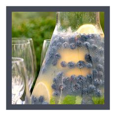 Ingredients  4-12 ounce cans frozen lemonade concentrate, thawed  1 pint fresh blueberries  4 lemons, juiced  3/4 cup granulated sugar  2 large bunches of mint, woody stems removed  3 cups water  3 cups ice cubes  4 lemons, halved